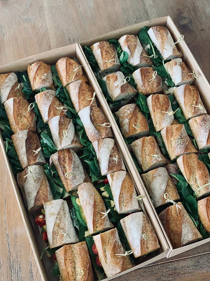BAGUETTE BOX - $95 plus deliveryFeaturing 18 individual baguette bites made on a freshly baked sourdough French stick. We recommend 2 baguette bites per person for a substantial lunch.Vegetarian options available, please fill out our order form to select your flavours.Please note: 48 hours notice required for our baguette boxes.