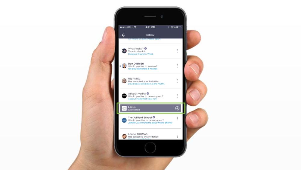 Sponsored in-app push invitation