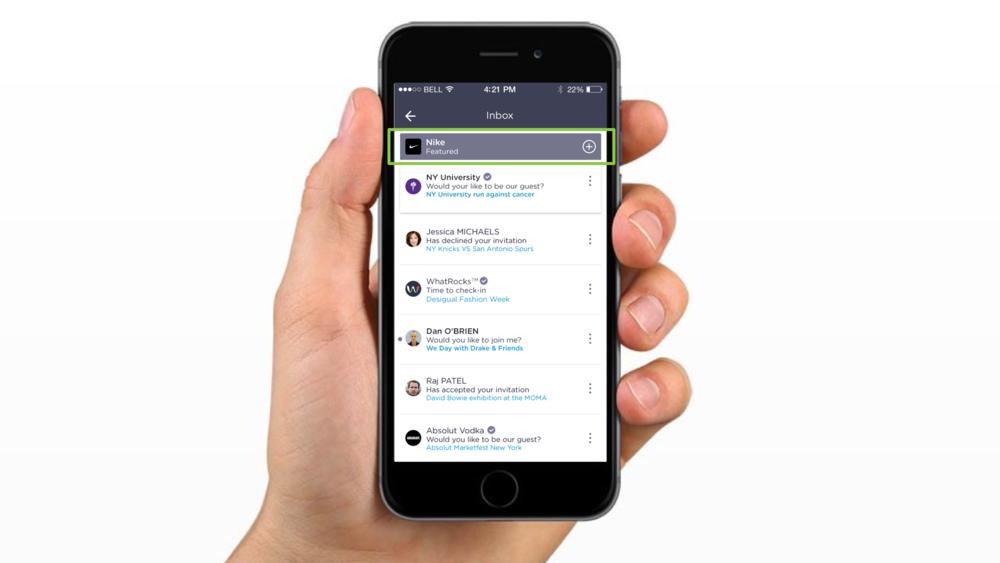 Featured in-app push invitation