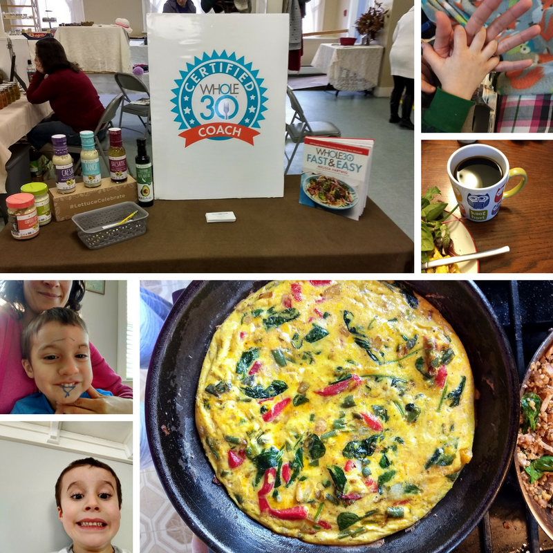 Set up again at the Newmarket farmer's market, this time with a  Primal Kitchen  giveaway ; holding hands with my little Lucas ; my morning coffee after the gym is always THE BEST ; Lucas found the markers ; Agustin found the selfie button on my phone ; frittatas are my favorite