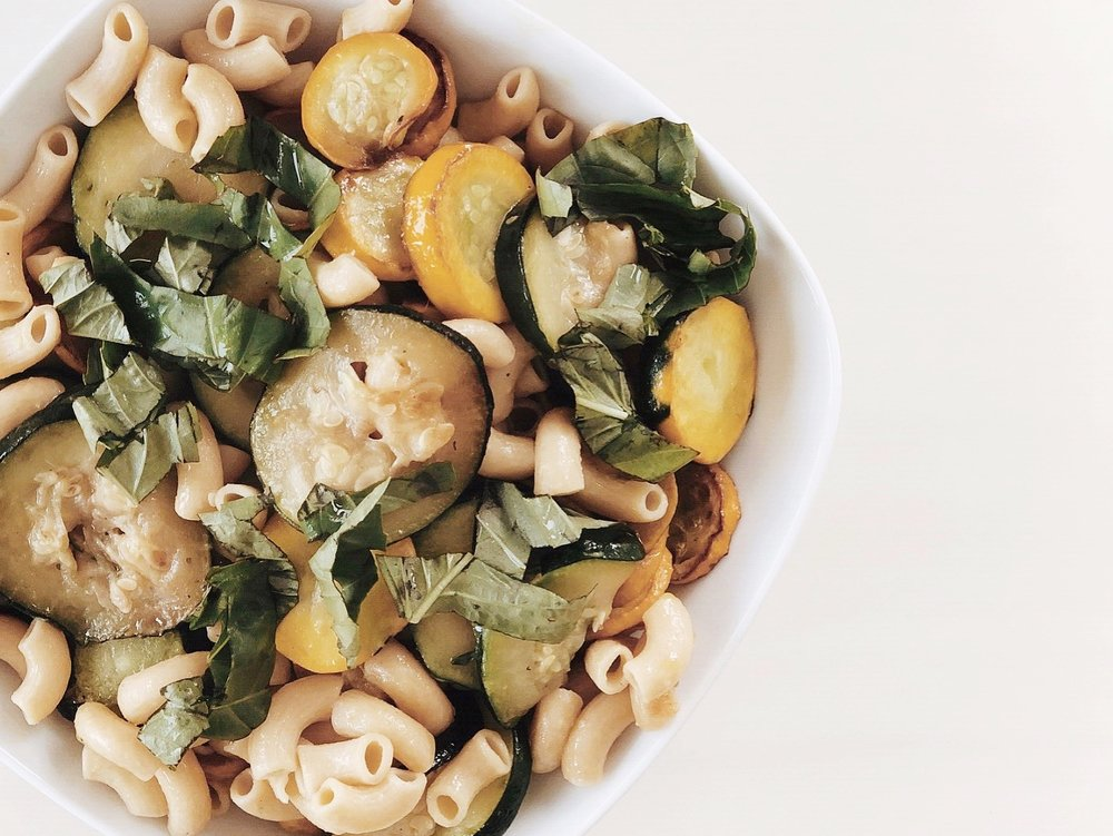 Chickpea Pasta with roasted zucchini and Basil -