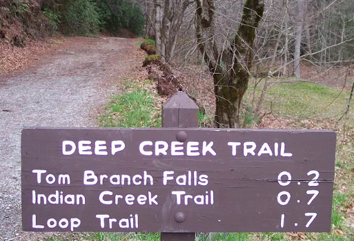 Great smoky mountains Deep Creek trail sign