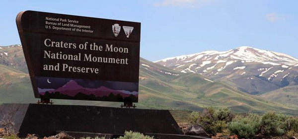 Craters of the Moon National Monument and Preserve sign