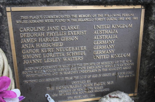 Belanglo State Forest memorial to back packer murders