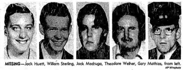 Yuba city five disappearances 1978 - Jack Huett, William Sterling, Jack Madruga, Theodore Weiher, Gary Mathias