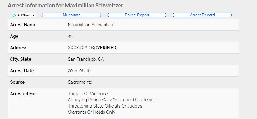 Maximillian Schweitzer arrest