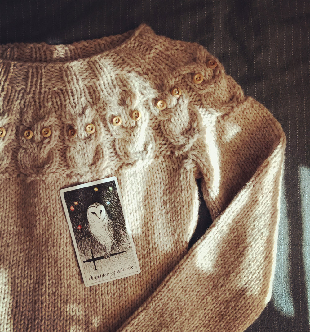 my recently-completed   o w l s   jumper, which i named after  this tarot card  .