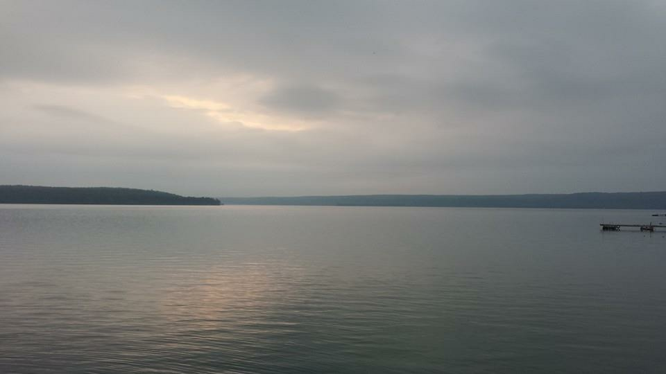 Beautiful morning for a race! Being shuttled across Lake Superior from Munising to Grand Island.