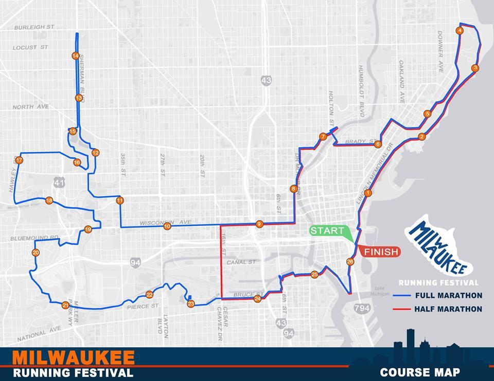 Milwaukee Running Festival half and full marathon courses.