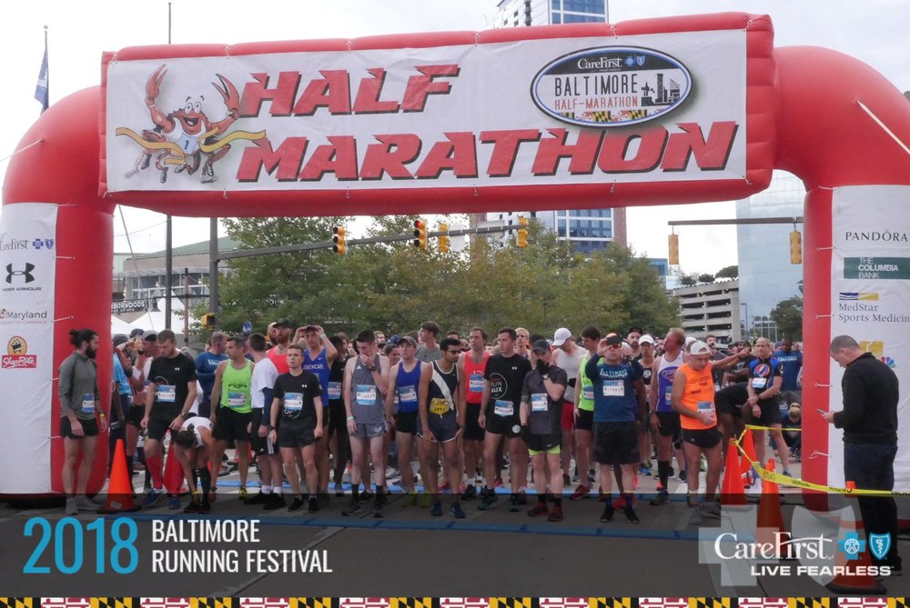 Start line of the half marathon. The half started half way through the full marathon course so we would have the same finish line.