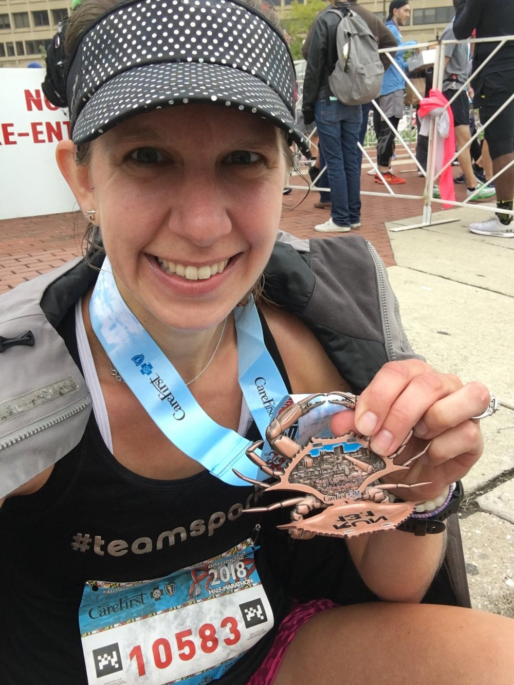 Sitting down felt amazing! Plus the medal is pretty cool. The crab opens up to show a skyline of Baltimore.