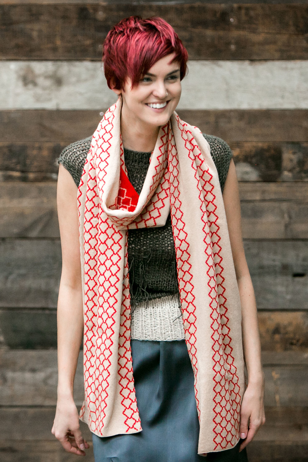 Luxury Graphic Scarf - Camel, Red