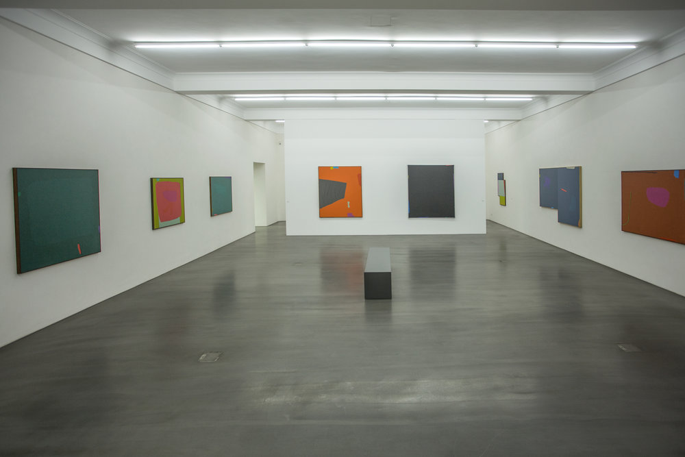 "(From left to right)    Dorothy Fratt   's room -    ""colourful.frabenfroh   "" exhibition:  "" Secret Green "" (1985), "" Red and Green "" (1975), "" Talo with Chaser "" (1983-1987), "" Laban's Staves "" (1991),  untitled  (1987), "" Along Night's Measure "" n.d., "" Odyssey "" (1987)  and  "" Sedona Green Line"""