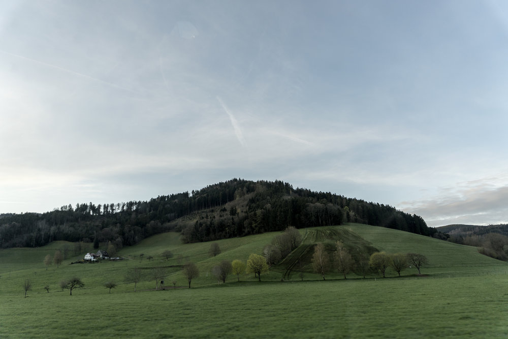 Gentle hills, meadows and orchards highlighted by the silhouettes of dark, ancient fir trees: eerie sentries posted in the vanguard of the legendary Black Forest.