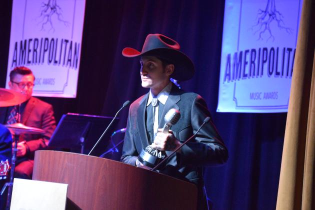 Country singer Jesse Daniel wins Ameripolitan Award for Honky Tonk Male in Memphis, TN