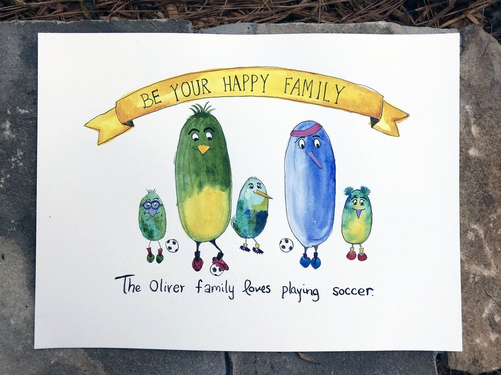 "The Oliver family loves playing soccer. 10"" x 8"" watercolor, gouache, acrylic and ink. 2017."