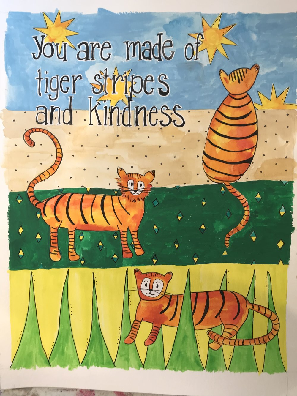 "Tiger Stripes and Kindness, 2018. 11x14"" gouache on watercolor. Missy Elam Chavez, all rights reserved."