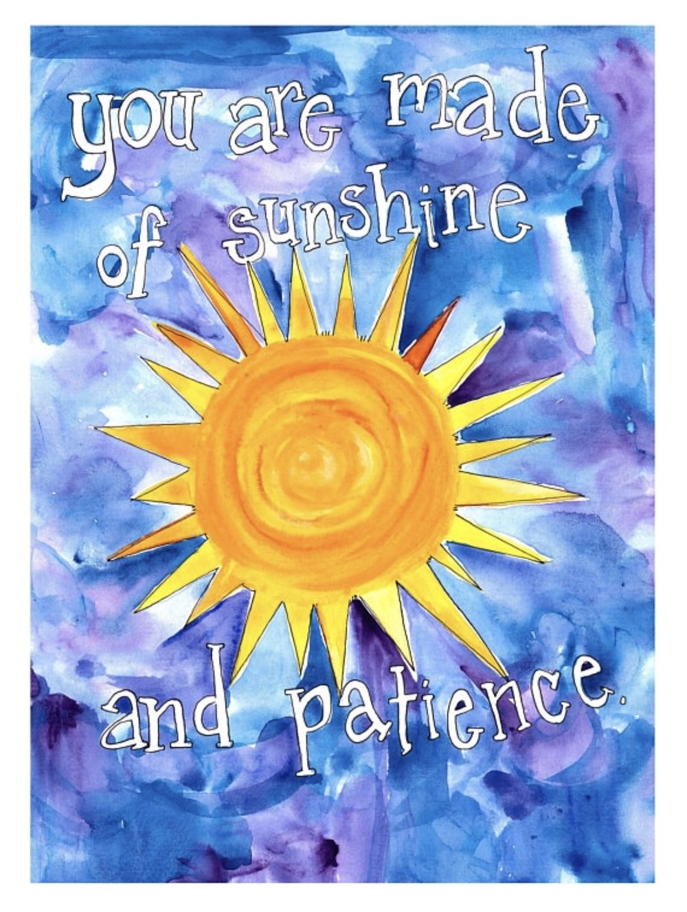 "Sunshine and Patience, 8""x10"" watercolor. 2018, All rights reserved, Missy Elam Chavez."