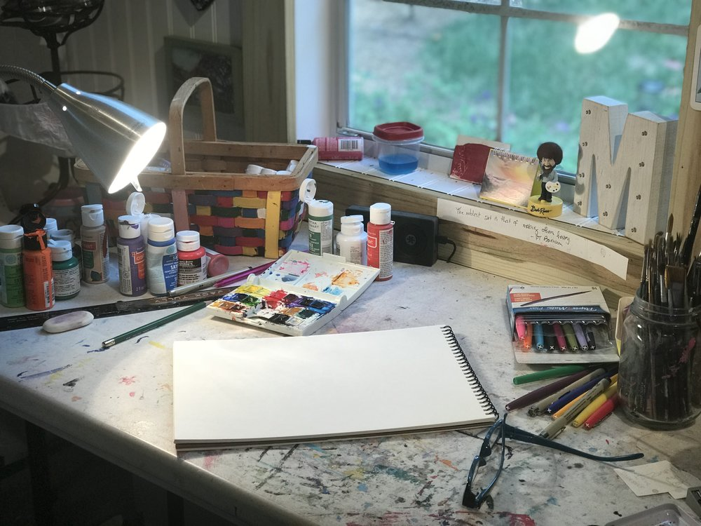 my desk. this is pretty much what it looks like all of the time. in the mornings, a coffee cup sits just under my light.