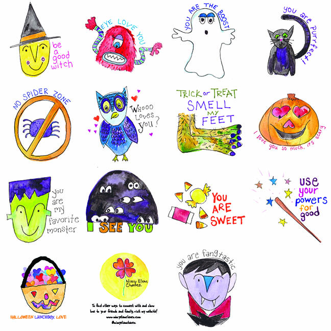 "Halloween Lunchbox Cards! Just like the original set, there are 13 fun cards in this set. All are 3x3"" and printed on bright white paper. The back of each card is left blank so that you can add your own special note. Regular price: $6.50 Sale Price: $4.55"
