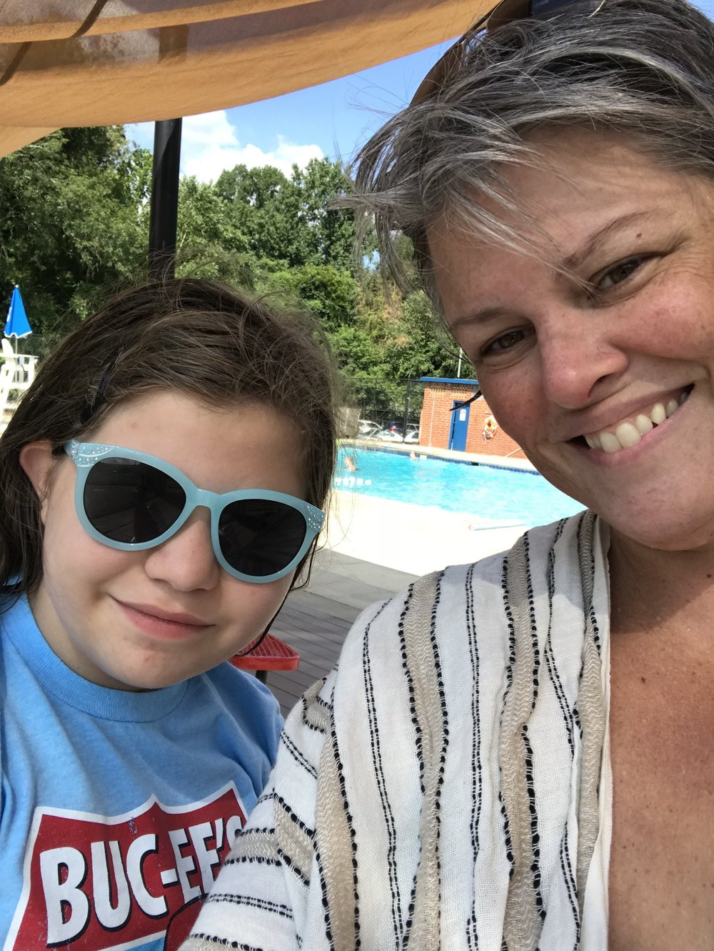 August, 2018. The child and I on a happy day of swimming.