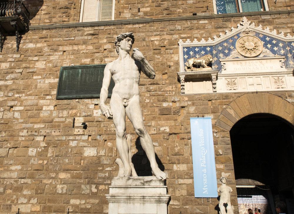 A copy of Michelangelo's David in Piazza della Signoria