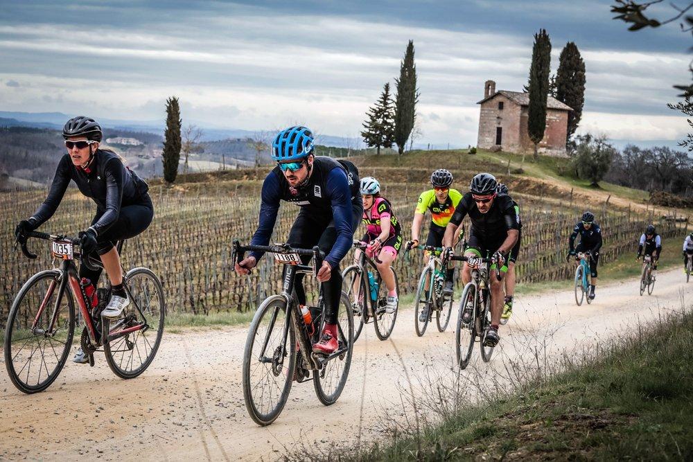 One of the final walls near Siena with the crazy Czech fan. Photograph: Sportograf.com