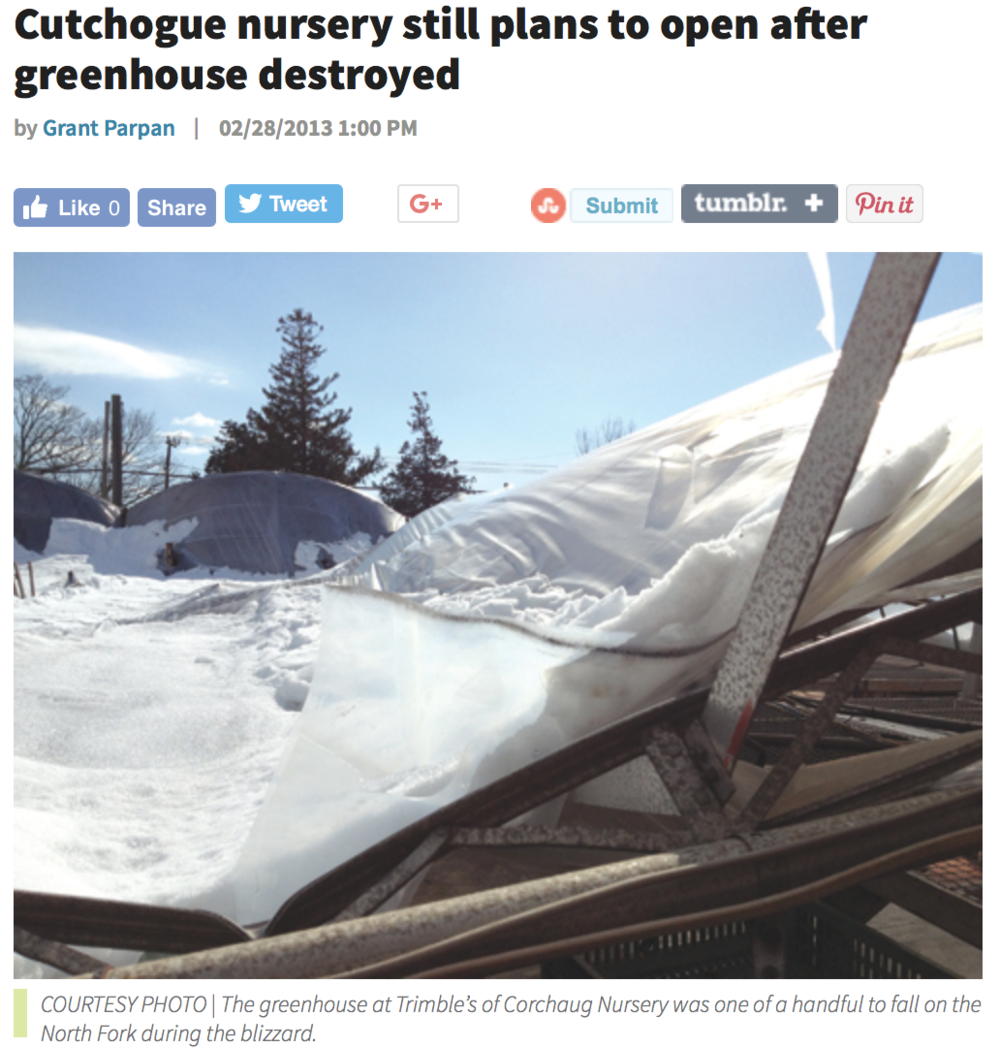 Suffolk Times - Greenhouse Destroyed - February 2013