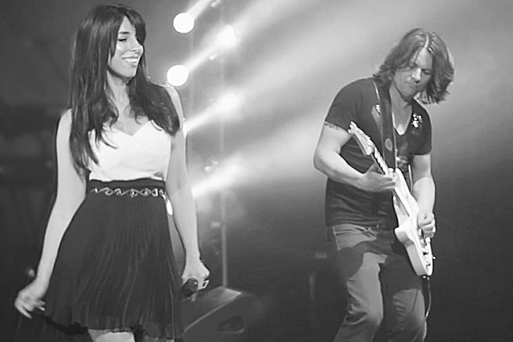 Georgia and Michael on stage. Black and White Photo
