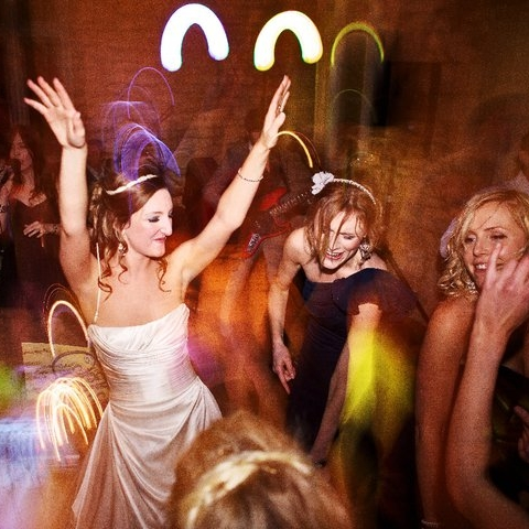 Sarah dancing with her bridesmaids.