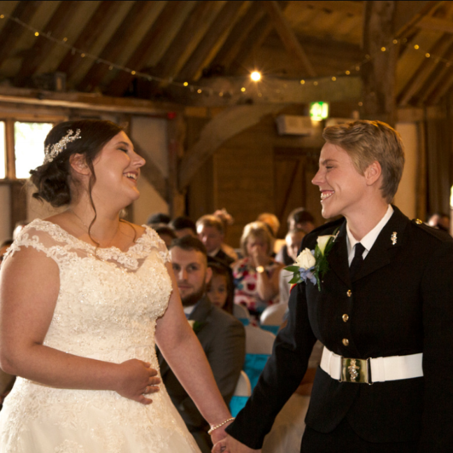 """Laura and Emma. The Red Barn. Norfolk    """"Cupids wish are AMAZING! We booked them for our wedding and we are so glad we did. Such lovely people! Their rendition of our first dance 'feels like home' was perfect. Couldn't have asked for anything more. Thank you Georgia and Michael!!!"""""""