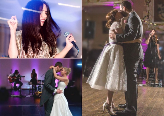 Grid showing Georgia and Michael singing first dances for their couples.