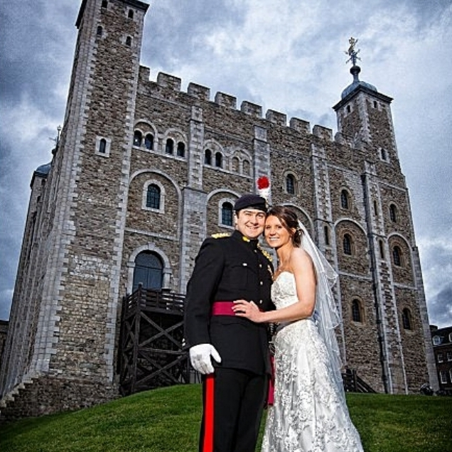 "Ali and Tom. The Tower of London    ""Thank you so much for playing at our wedding. It really couldn't have been any more perfect and the first dance brought us to tears! You are amazing and all our friends and family loved you! Thanks for getting everyone dancing and singing too!"""