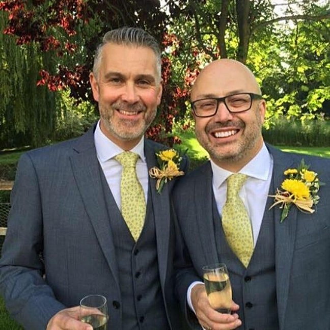 "Phil and Trevor. Houchins, Essex    ""I know you said you'd add something special to our wedding day... I had no doubt you would...anyway, AMAZING from the Ceremony to Wonderwall at the end of our day. And thanks for letting my niece, Sofia, share the stage with you all...fab!"""