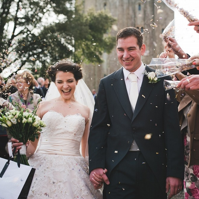 """Elizabeth and Michael. Hedingham Castle, Essex    """"Thank you for being so magical at our wedding. We really couldn't have asked for more and thank you for learning and playing our first dance. It was beautiful"""""""