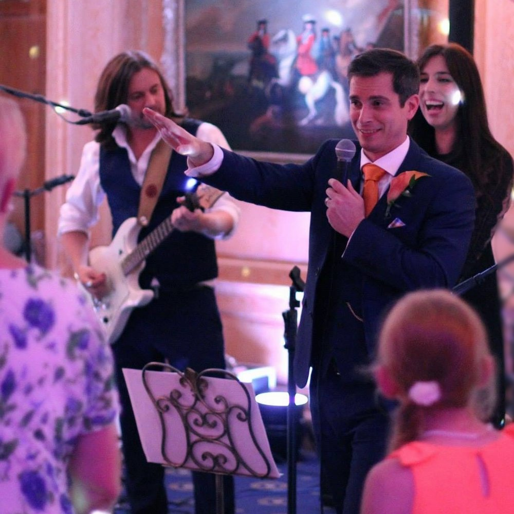 """Stephanie & Jason. Brocket Hall. Hertfordshire    """"Thank you Cupids Wish for your spectacular performance at our wedding in Brocket Hall. We knew you'd be good but you were better that we could have hoped for. The acoustic music was perfect and our first dance before the fireworks was fantastic and really set the stage."""""""