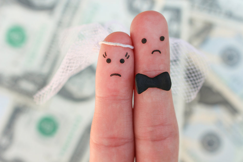 Fingers with bride and groom and sad faces!