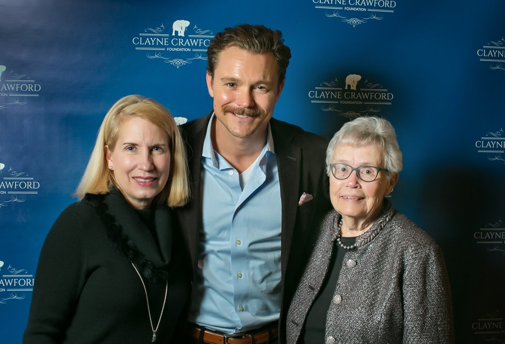 Pictured from left to right: Paula Gossett, Clayne Crawford and Beverly Crumpton at the CCF Keystone Event honoring the Pleasant Hill Community Mission Backpack Feeding Program.