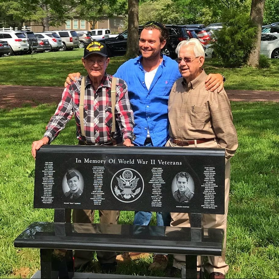 pictured from left to right: Bill Aldridge, Clayne Crawford, Bernard Crawford at the First Annual Pig out picnic presenting a memorial bench honoring WWII veterans of Birmingham, AL.