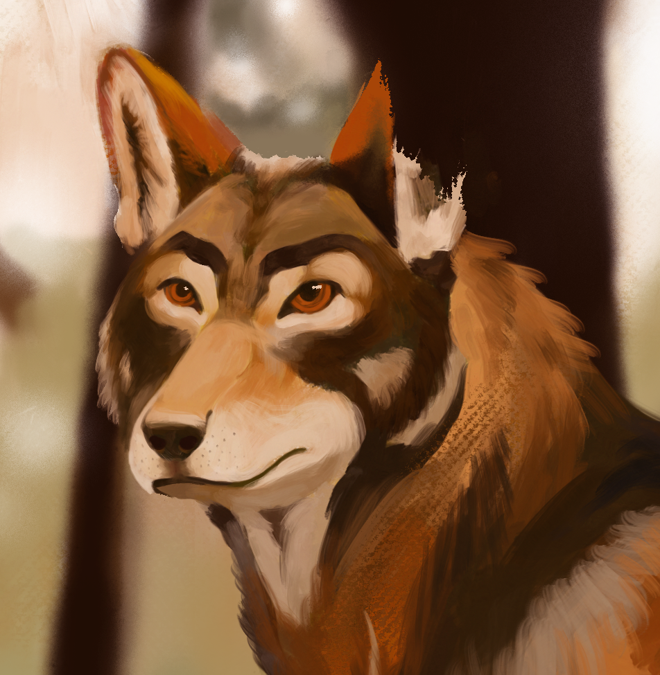 detail of russet wolf