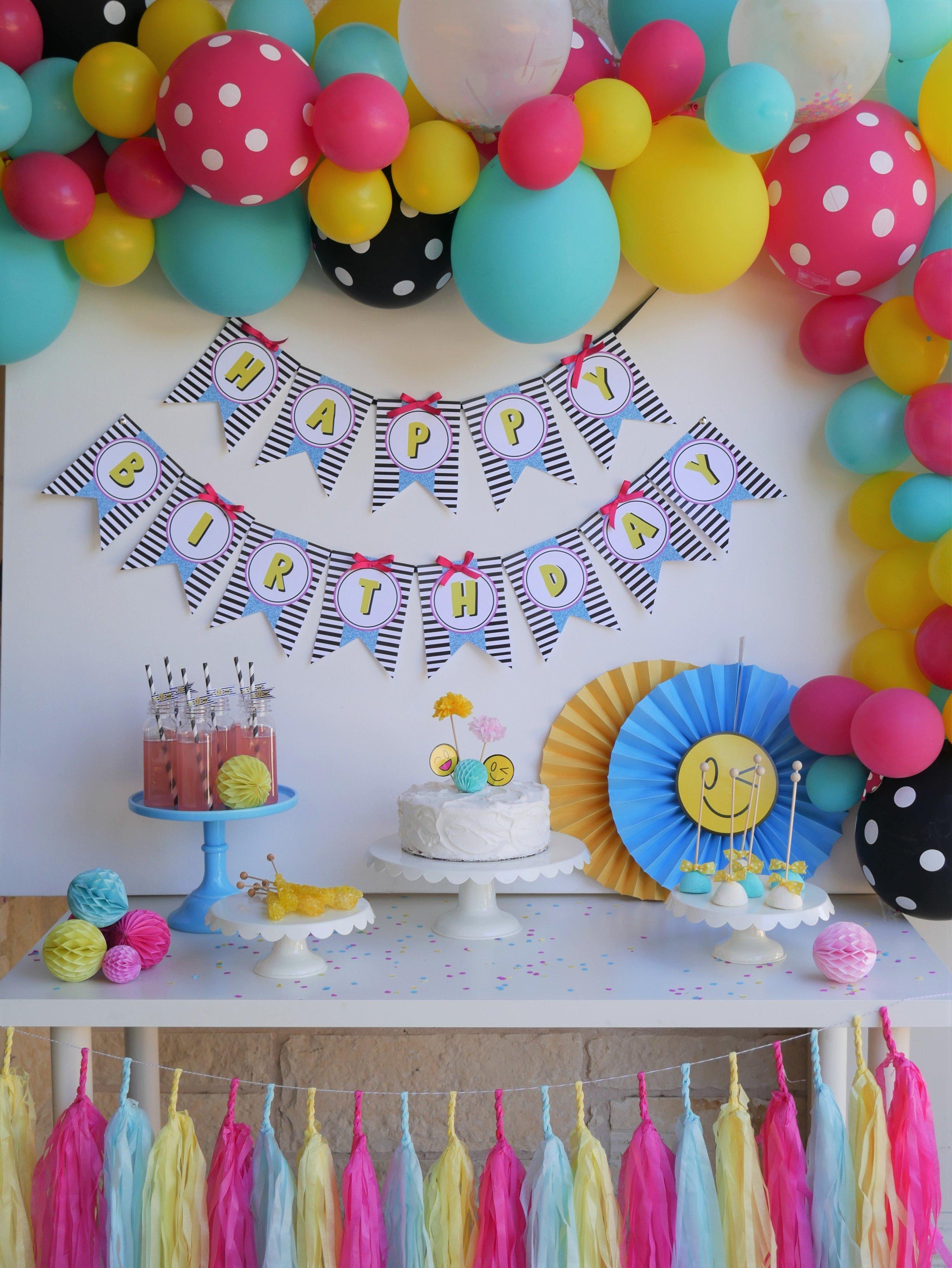 Sweet Emojis Birthday Party Mint Event Design