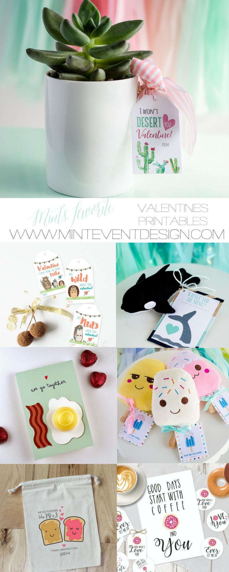 Valentines printables ideas / Valentines classmate gifts / Valentines gift tags / www.minteventdesign.com