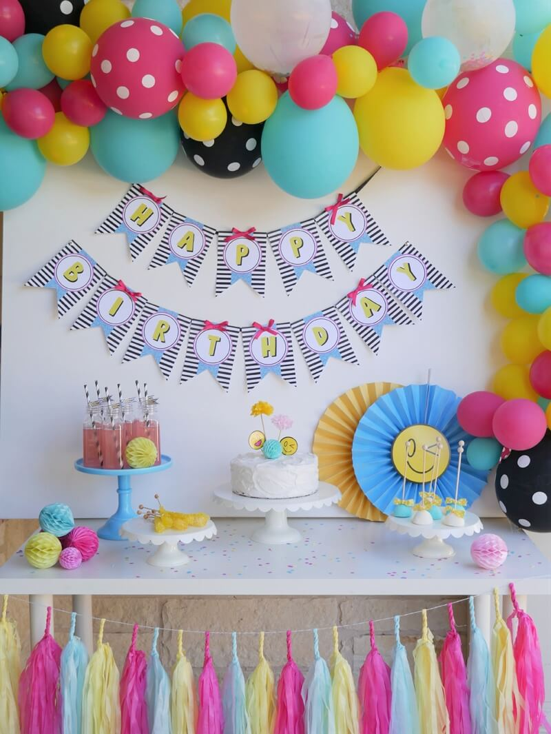 Emoji Birthday Party Ideas And Dessert Table Cute Backdrop With Balloons