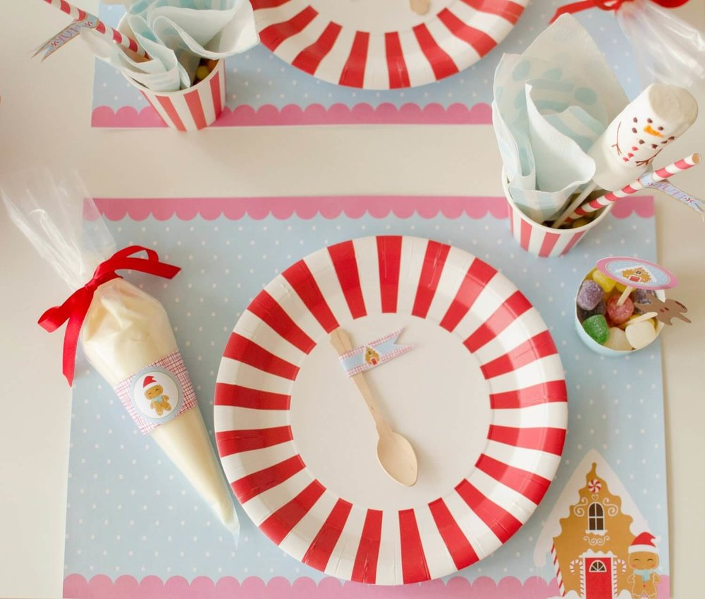 Candy Cane party ware for a Christmas cookie decorating party. See more from this Cookies for Santa party on www.minteventdesign.com - styled by Austin, Texas based party planner Mint Event Design. #holidayparty #holidaypartyideas #christmaspartyideas #christmascookies #cookiedecorating #cookieparty