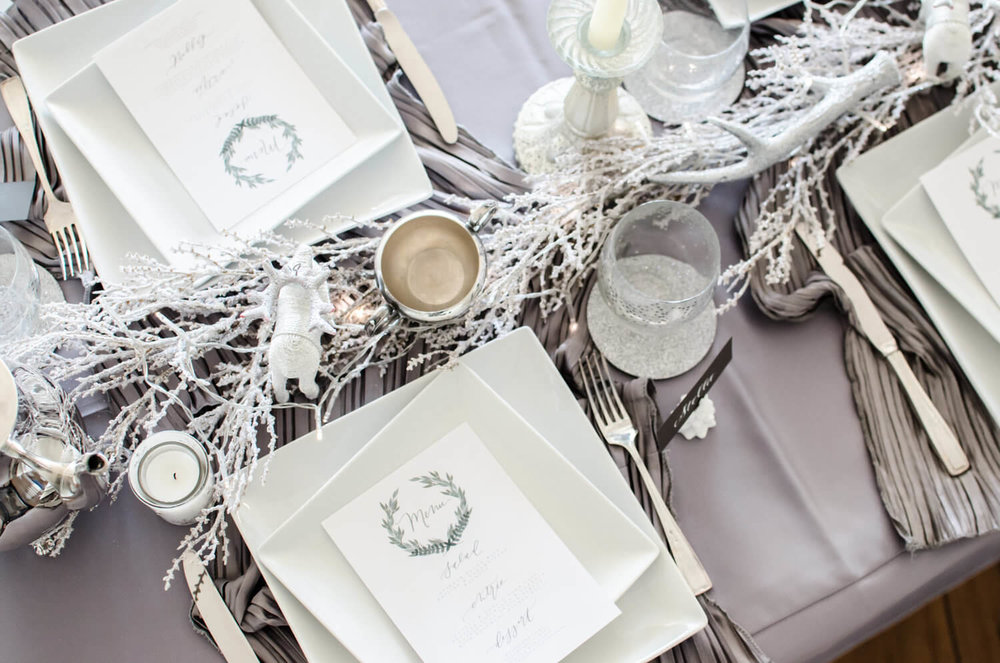 Place setting for a winter wonderland party, it could definitely work for weddings