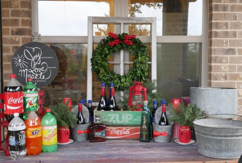 Christmas Drink Station with t rustic look!  All you need for  hosting a holiday party!