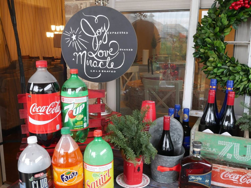 Rustic Drink Station with a Christmas party!  Great ideas on the. blog!