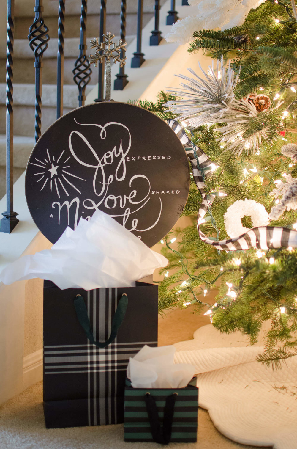 Christmas Tree decor with black and white accents