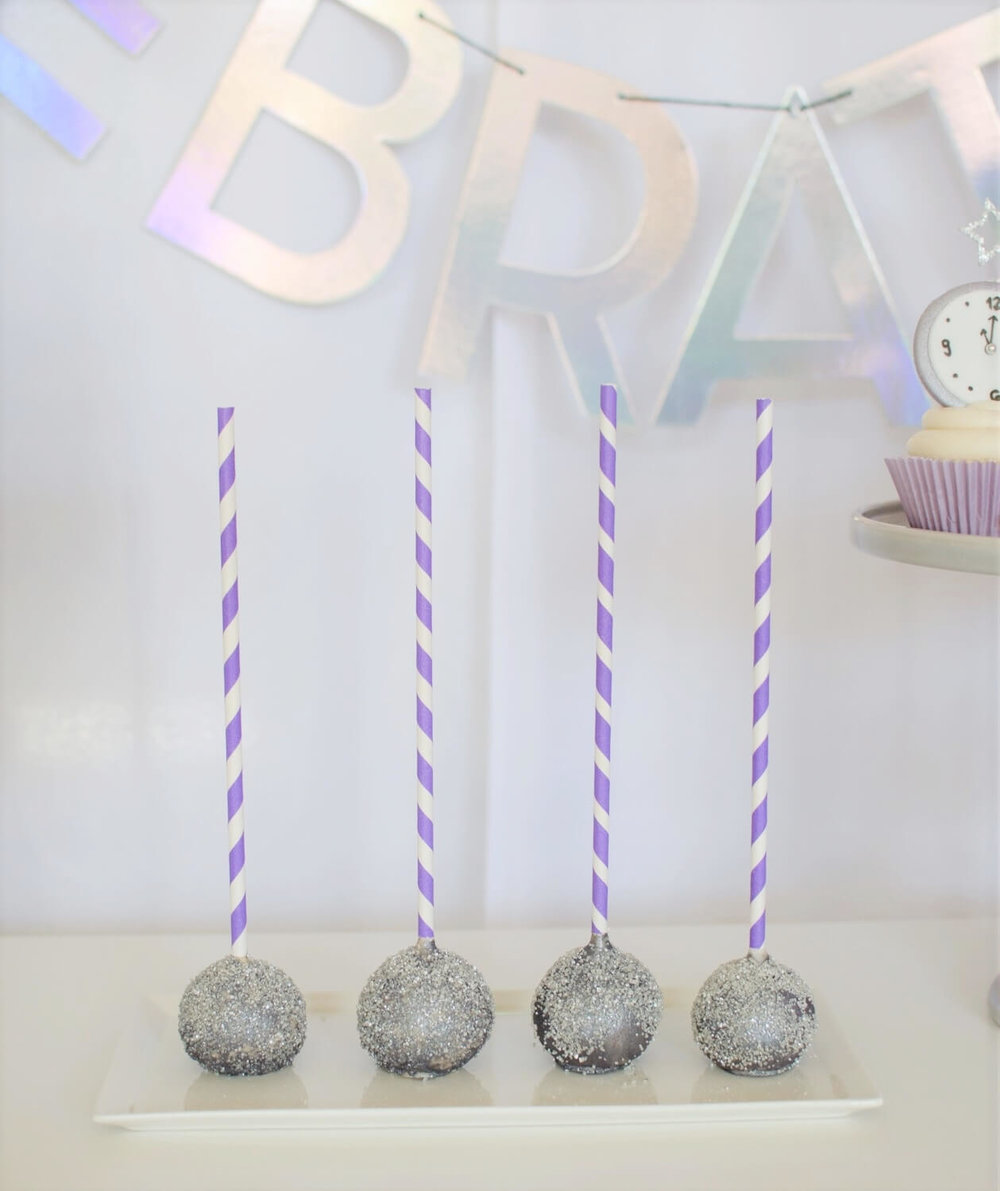 New Years dessert ideas includes cake pops, cookies, cupcakes and cake