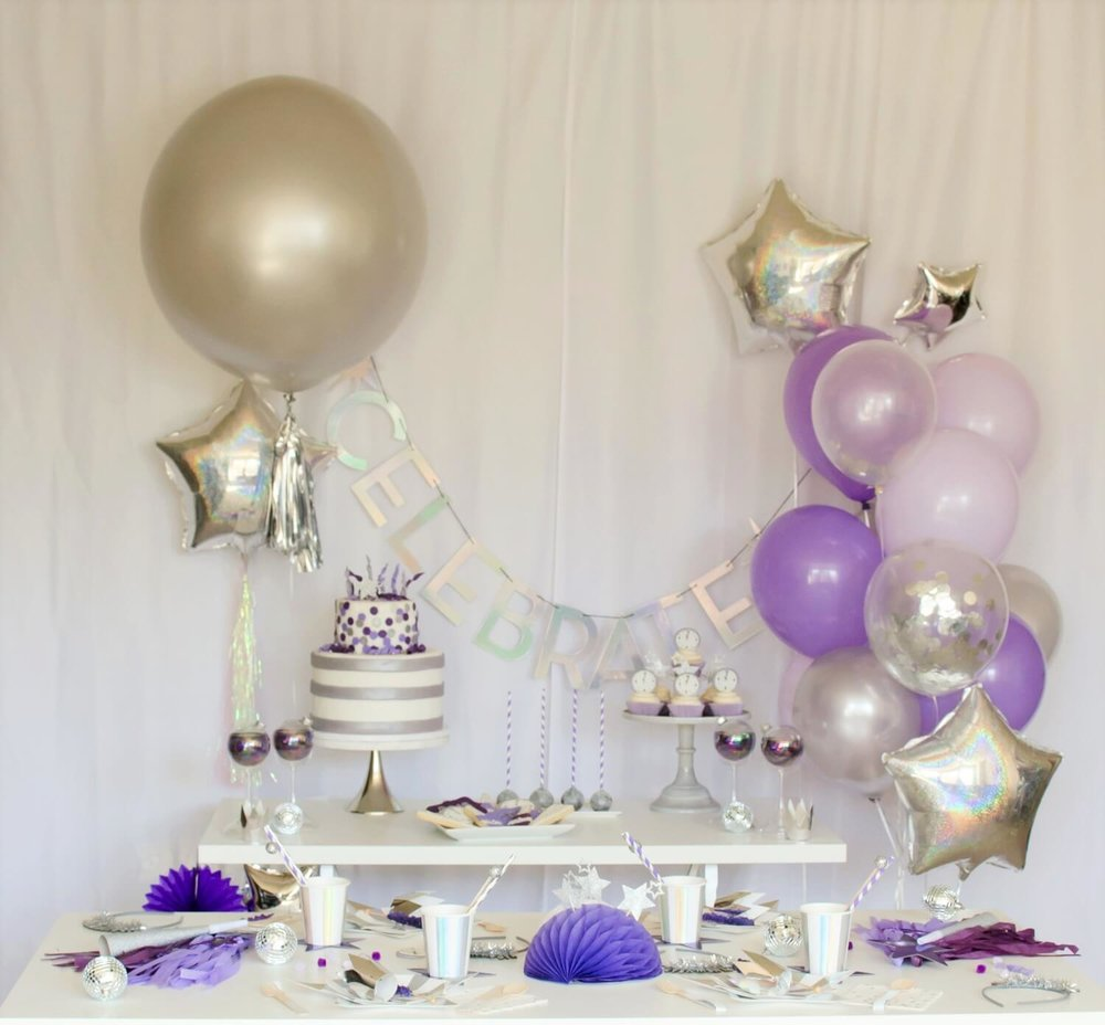 New Years party ideas and inspiration, includes dessert table.